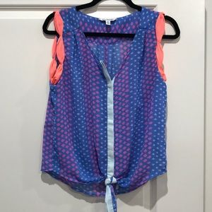 American Eagle Tie Front Sheer Sleeveless Top